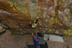 Kevin Swift on the awesome Tsunami Boulder at The Washoe Boulders near...