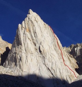 Incredible Hulk - Red Dihedral 5.10b - High Sierra, California USA. Click to Enlarge