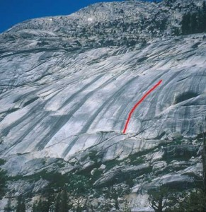 Canopy World - One Eyed Jack 5.10d X - Tuolumne Meadows, California USA. Click to Enlarge