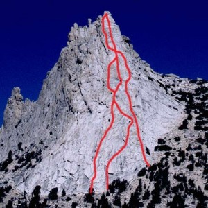 Cathedral Peak - Southeast Buttress 5.6 - Tuolumne Meadows, California USA. Click to Enlarge