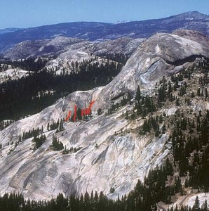 Daff Dome, South Flank - Perspiration 5.11c - Tuolumne Meadows, California USA. Click to Enlarge