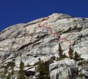 Mountaineers Dome - American Wet Dream 5.10b R - Tuolumne Meadows, California USA. Click for details.
