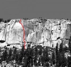 Phobos-Deimos Cliff - Blues Riff 5.11b - Tuolumne Meadows, California USA. Click to Enlarge
