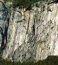 Royal Arches Area - Peruvian Flake 5.10a - Yosemite Valley, California USA. Click for details.