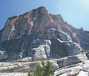 West Cottage Dome - Pencil Necked Geek 5.11a R - Tuolumne Meadows, California USA. Click to Enlarge
