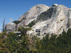 Medlicott Dome, Left - Scorpion 5.11b - Tuolumne Meadows, California USA. Click to Enlarge