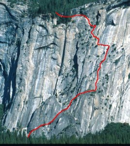 Royal Arches Area - Royal Arches 5.10b or 5.7 A0 - Yosemite Valley, California USA. Click to Enlarge