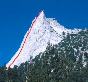 Cathedral Peak, one of the finest routes in Tuolumne Meadows.