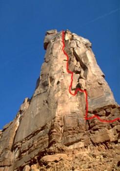 Moses - Primrose Dihedrals 5.11d - Desert Towers, Utah, USA. Click to Enlarge