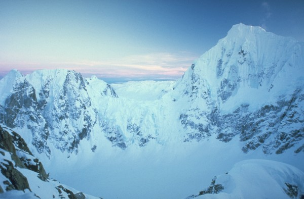 Dawn light on Mt Huntington on the descent