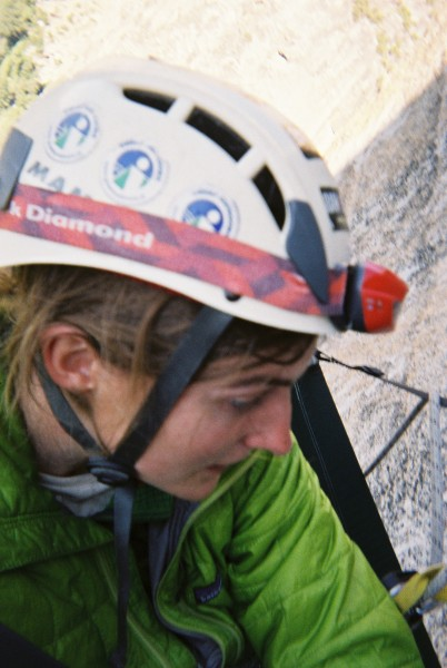 Looking a bit scared at bivy 1 (pitch 2 anchors)