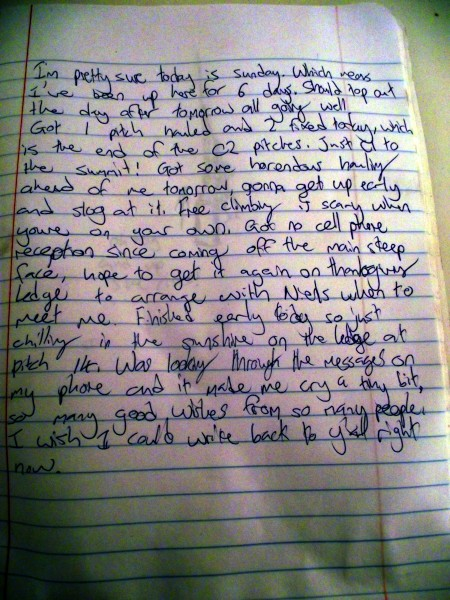 My journal from day 7. The only day I actually wrote in it.