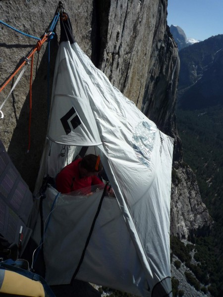 Tommy Caldwell inside hanging out between burns on Mescalito, El Capit...