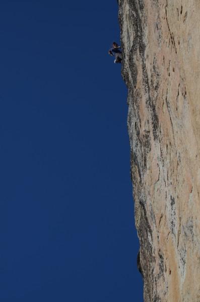 Christina atop the first belay.