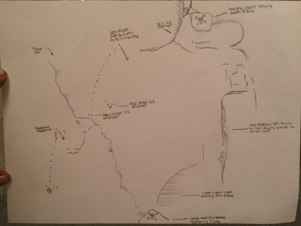Rough hand drawn topo of new variations. RNWF