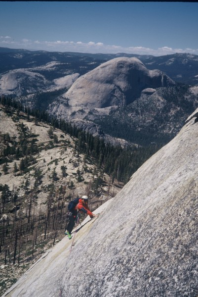 Vic Madrid on the last roped pitch. Half Dome in the background.