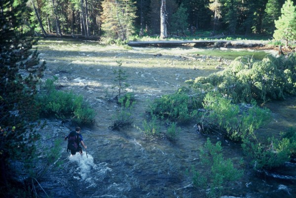 Dave Mahler negotiating Illouette Creek in July, 1998