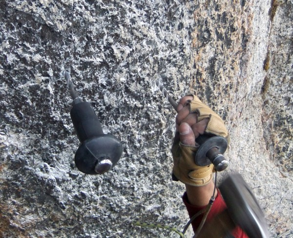 Job, tag team drilling anchor #11 on the Middle Cathedral East Face ra...