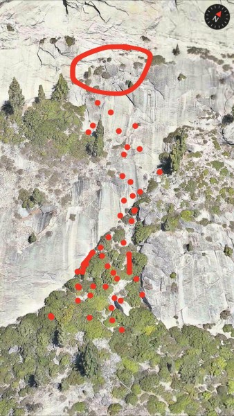 rock fall release zone and area impacted.  The scruffy buttress is now...