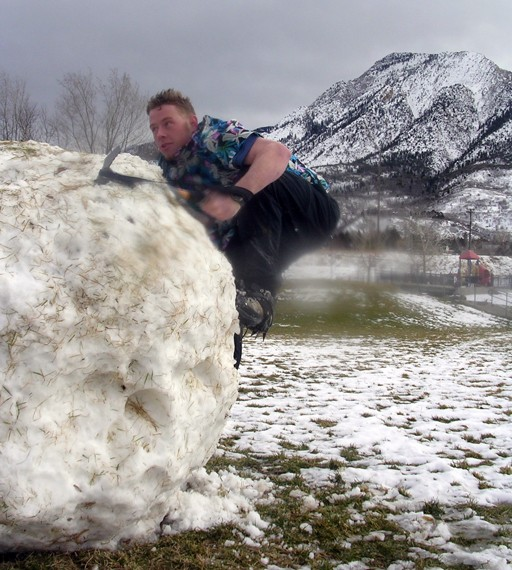 """Attempting to start the new sport of """"Snow Bouldering"""""""