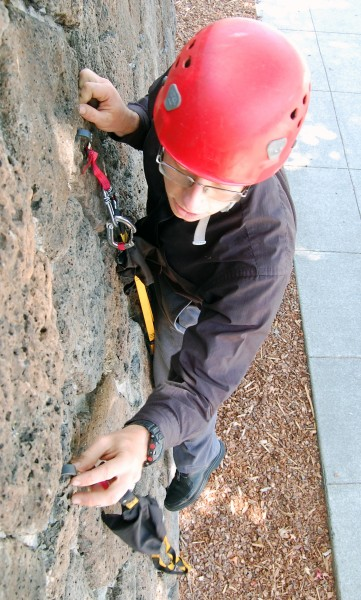 Making the next placement, using the rock features for stability.